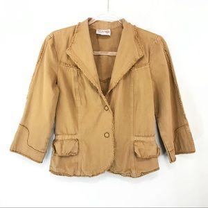 XCVI Blazer Jacket 3/4 Sleeve Cotton Brown Small